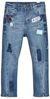 Ikks Mid Wash Badge Applique Jeans