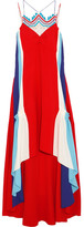 Peter Pilotto Asymmetric Crochet-trimmed Cady Gown - Crimson