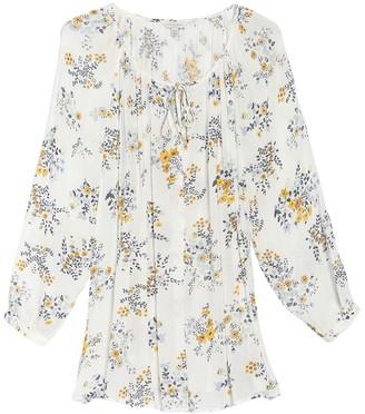 Lucky Brand Floral Keyhole Long Raglan Sleeve Blouse (Plus Size)