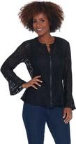 Belle By Kim Gravel Belle by Kim Gravel Geometric Stretch Lace Zip Jacket