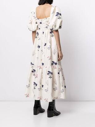 Self-Portrait Floral-Print Mid-Lengt Dress