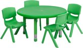 Flash Furniture 33-Inch Round Adjustable Plastic Activity Table Set with 4 School Stack Chairs