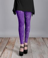 Lily Purple & White Burst Slim-Leg Pants - Plus Too