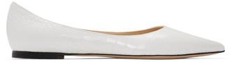 Jimmy Choo White Croc Love Flats