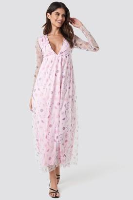 NA-KD Floral Sheer Ls Maxi Dress Pink