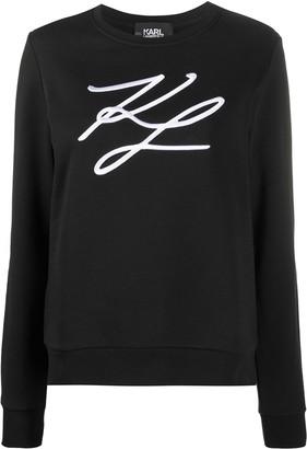Karl Lagerfeld Paris Signature Embroidery Cotton Sweatshirt
