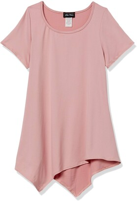 Star Vixen Women's Petite Short SLV Flattering Hanky Hem Brushed Knit Top