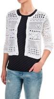 Jeanne Pierre Open-Weave Cardigan Sweater - Cotton (For Women)