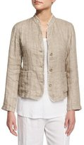 Eileen Fisher Linen Button-Front Jacket with Raw Edges, Petite
