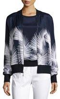 St. John Palm-Print Stretch-Silk Bomber Jacket, Navy/Bianco