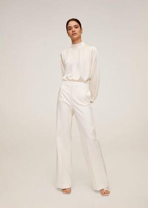 MANGO High collar satin blouse off white - 10 - Women
