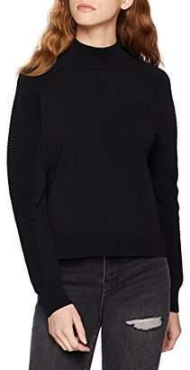 G Star Women's Suzaki Mock Turtle Knit Wmn L/s Jumper, (Dk Black 6484), Small