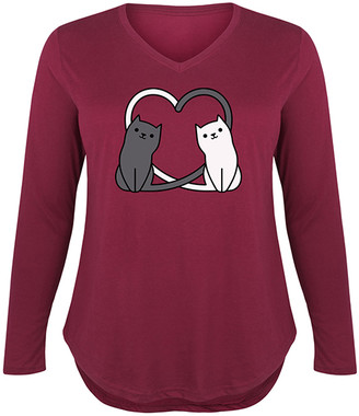 Instant Message Plus Women's Tee Shirts WINE - Wine Cat Tail Hearts Long-Sleeve Tee - Plus
