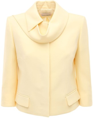 Alexander McQueen Light Wool Silk Crop Jacket W/scarf