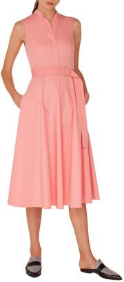 Akris Punto Sleeveless Button-Front Belted A-Line Cotton Midi Dress