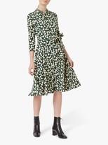 Hobbs Petite Alex Spotted Print Midi Dress, Green Stone