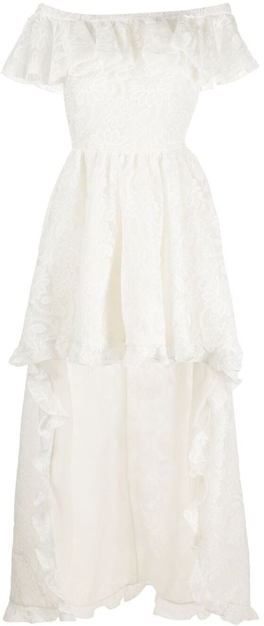 Giambattista Valli Off-Shoulder Ruffled Floral-Lace Gown