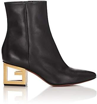 Givenchy Women's Logo-Heel Leather Ankle Boots - Black