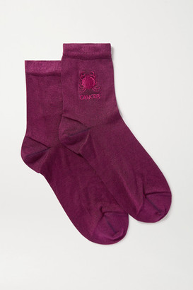 Maria La Rosa Cancer Embroidered Silk-blend Socks - Purple