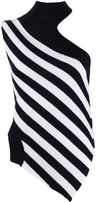 Monse High-Neck One-Shoulder Striped Tank Top