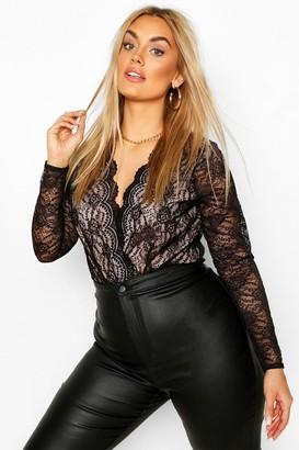 boohoo Plus Long Sleeve Plunge Lace Bodysuit