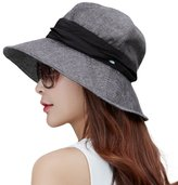 Siggi Womens UPF 50+ Cotton Ramie Foldable Bucket Sun Hats Wide Brim Sunhat with Chin Cord Summer Black
