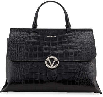 Mario Valentino Valentino By Olimpia Croc-Embossed Leather Top-Handle Bag