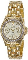 Burgi Women's BUR117YG Diamond & Crystal Accented Guilloche Dial Yellow Gold Bracelet Watch