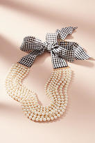 Anthropologie Gingham & Pearls Layered Necklace