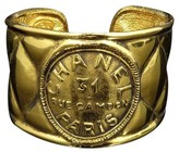 Chanel Gold-Tone Metal 31 Rue Cambon Matelasse Thick Bangle Bracelet