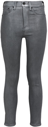 Rag & Bone Cropped Metallic Coated High-rise Skinny Jeans