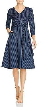 Lafayette 148 New York Olivia Striped Tie-Waist Dress