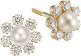 JCPenney FINE JEWELRY Girls Pearl & Cubic Zirconia Flower Stud Earrings
