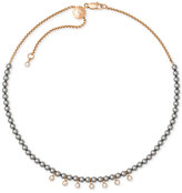 Michael Kors Rose Gold-Tone Crystal and Imitation Pearl Beaded Choker Necklace