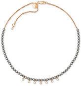 Michael Kors Rose Gold-Tone Crystal & Imitation Pearl Beaded Choker Necklace