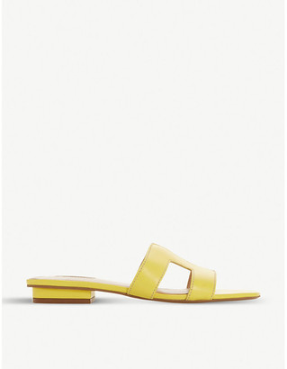 Dune Loupe denim slider sandals