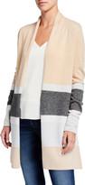 Neiman Marcus Colorblock Metallic Stripe Long-Sleeve Cashmere Cardigan