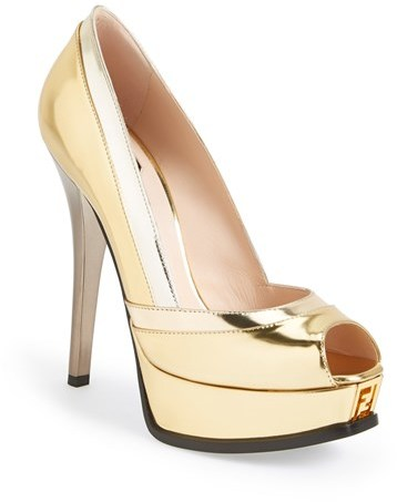 Fendi 'Fendista' Mirror Leather Platform Pump (Women)