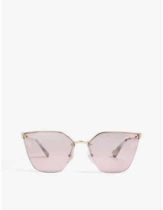 Prada Womens Gold Cat-Eye Frame Sunglasses