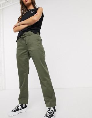 Converse black tie waist green cargo trousers