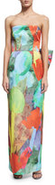 Milly Strapless Abstract Floral-Print Column Dress W/ Bow Back