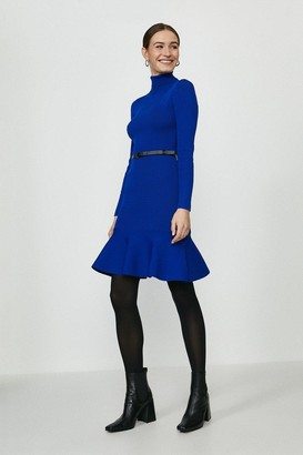 Coast Knitted Roll Neck Belted Flippy Hem Dress