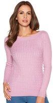 M&Co Slash neck cable knit jumper