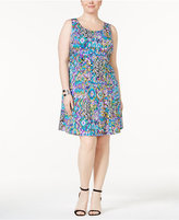 NY Collection Petite Plus Size Printed Fit & Flare Dress, Created for Macy's