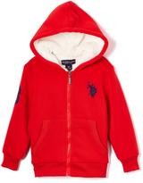 U.S. Polo Assn. Engine Red Sherpa-Lined Fleece Hoodie - Boys