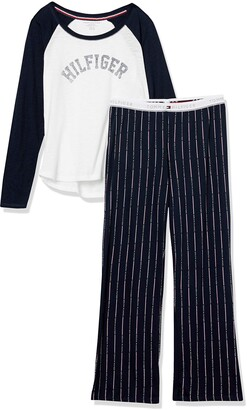 Tommy Hilfiger Women's Women'sLong Sleeve Top and Logo Pant Bottom Pajama Set