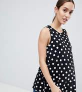 Asos DESIGN Maternity Sleeveless Longline Swing Top In Scatter Polka Dot