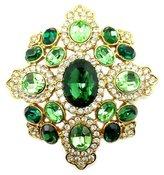 Kenneth Jay Lane Large Emerald & Peridot Crystal Shield Brooch Pendant