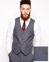 Asos Slim Fit Waistcoat In Mini Houndstooth