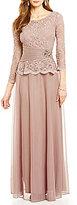 Cachet Faux-2-Piece Lace Top Gown